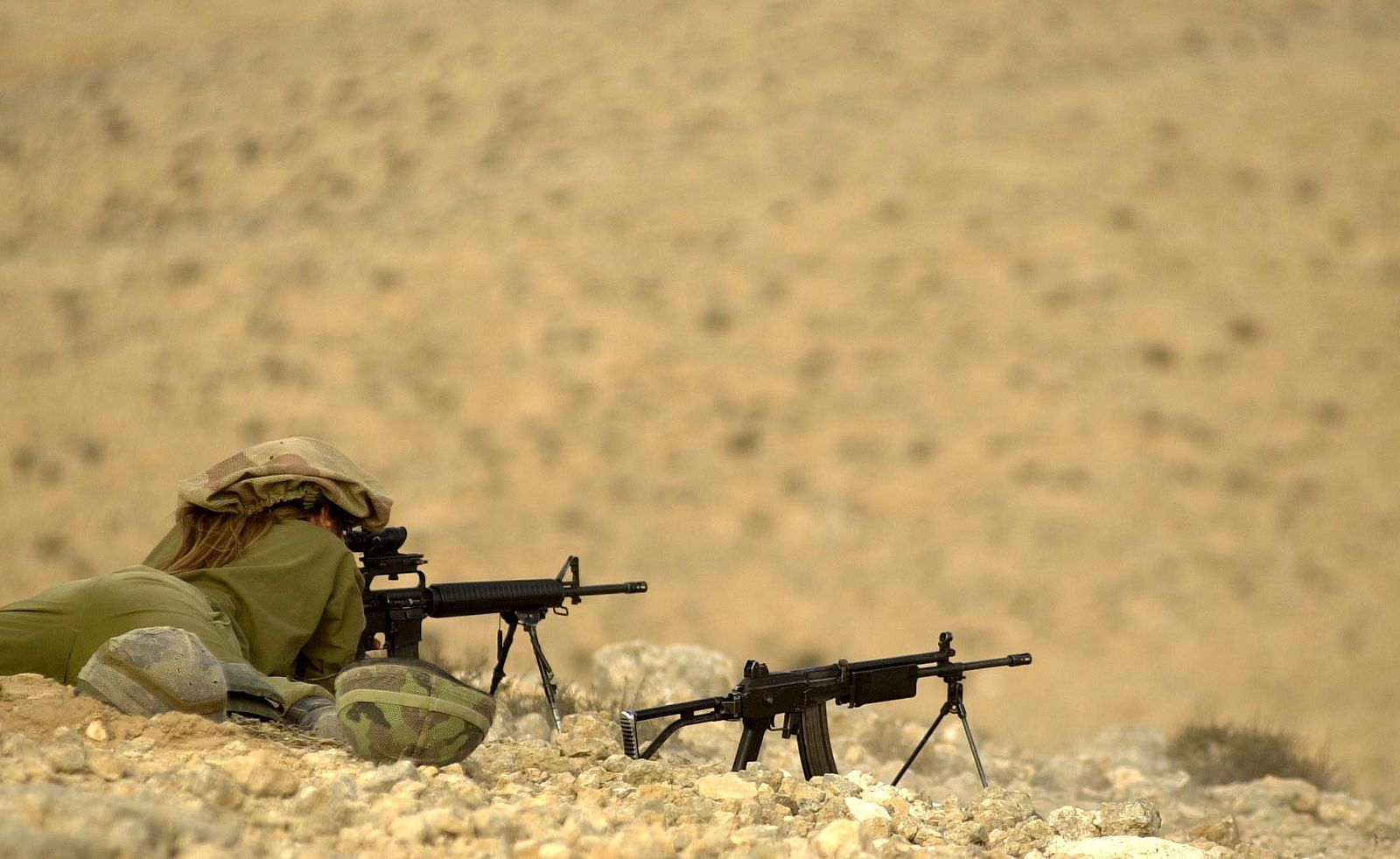 M 16 and GALIL assult rifles IDF